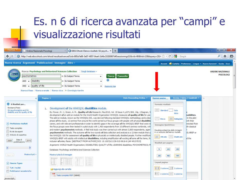 Es. n 6 di ricerca avanzata per campi e visualizzazione risultati
