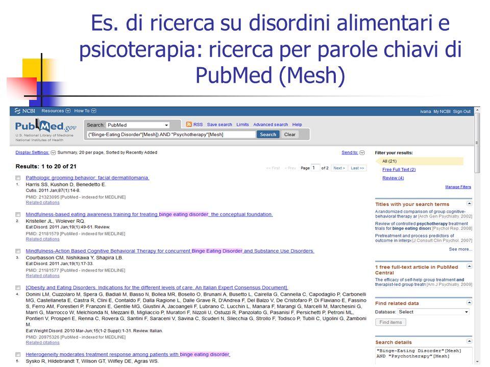Es. di ricerca su disordini alimentari e psicoterapia: ricerca per parole chiavi di PubMed (Mesh)