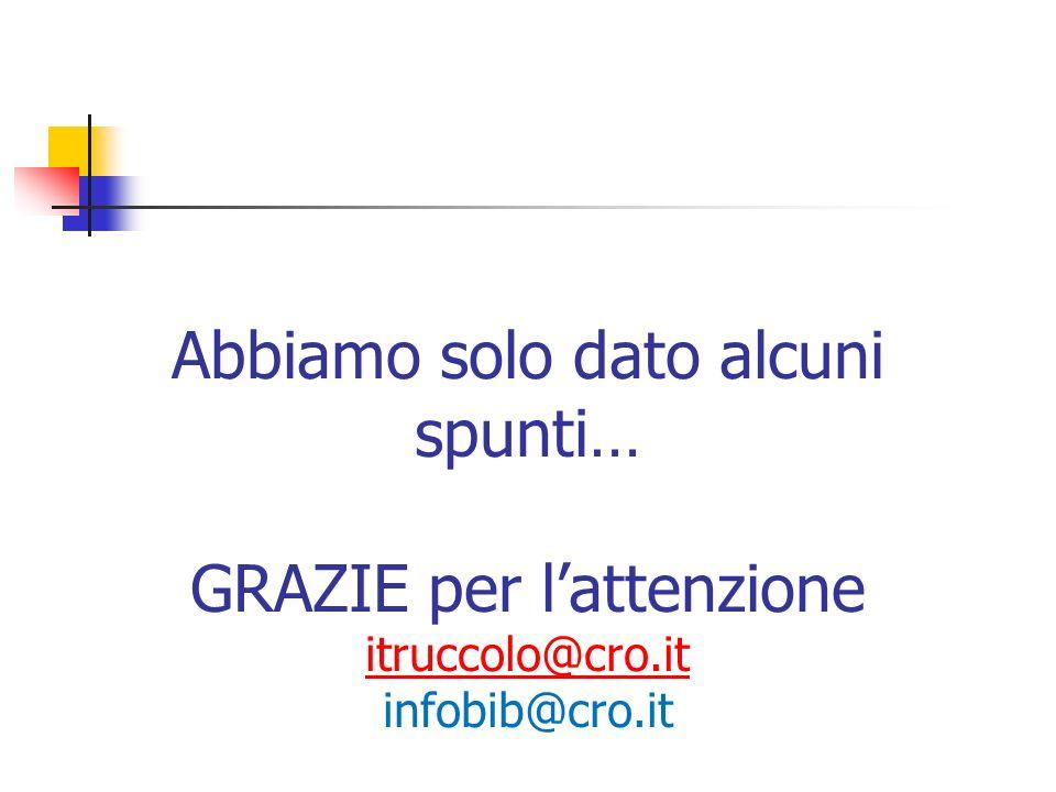 Abbiamo solo dato alcuni spunti… GRAZIE per lattenzione itruccolo@cro.it infobib@cro.it itruccolo@cro.it