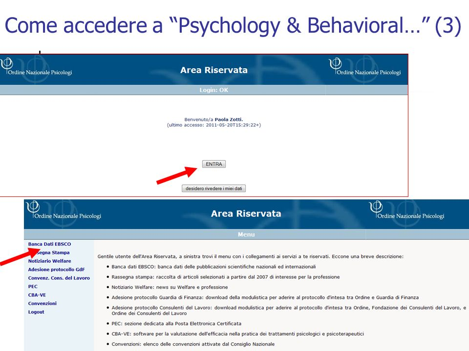 Come accedere a Psychology & Behavioral… (3)