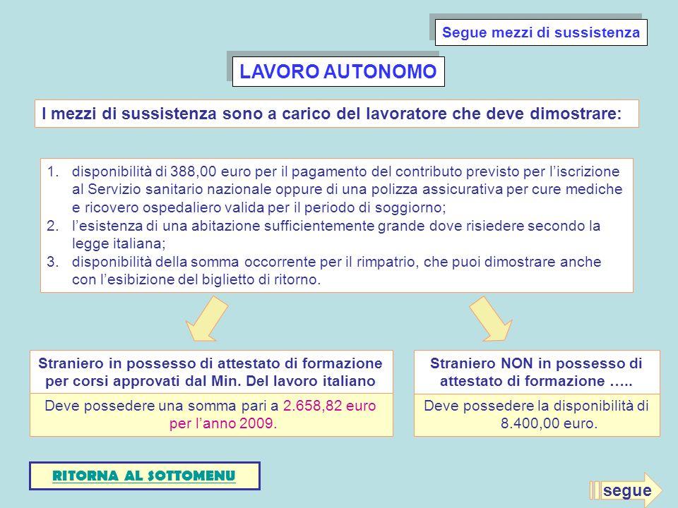 LAVORO AUTONOMO 1.disponibilità di 388,00 euro per il pagamento del contributo previsto per liscrizione al Servizio sanitario nazionale oppure di una