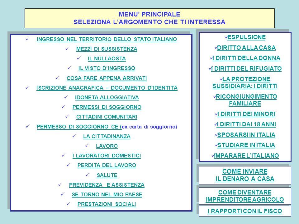 MENU PRINCIPALE SELEZIONA LARGOMENTO CHE TI INTERESSA INGRESSO NEL TERRITORIO DELLO STATO ITALIANO MEZZI DI SUSSISTENZA IL NULLAOSTA IL VISTO DINGRESS