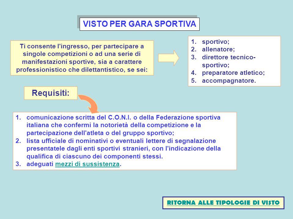VISTO PER GARA SPORTIVA 1.comunicazione scritta del C.O.N.I. o della Federazione sportiva italiana che confermi la notorietà della competizione e la p