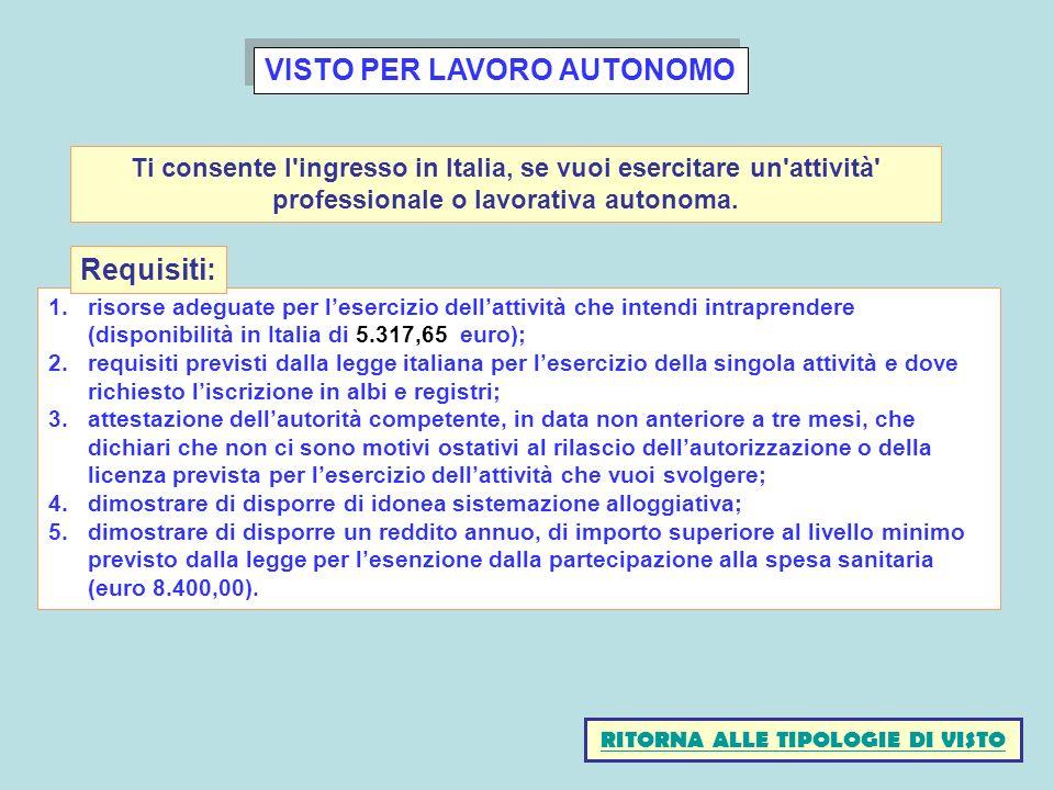 VISTO PER LAVORO AUTONOMO 1.risorse adeguate per lesercizio dellattività che intendi intraprendere (disponibilità in Italia di 5.317,65 euro); 2.requi