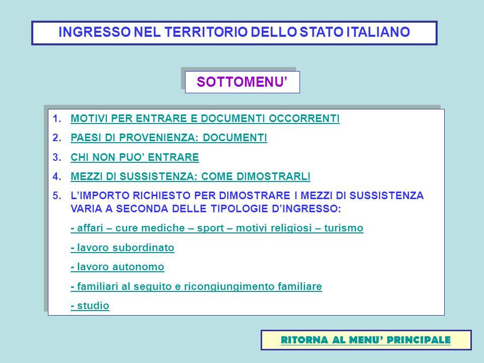 INGRESSO NEL TERRITORIO DELLO STATO ITALIANO 1.MOTIVI PER ENTRARE E DOCUMENTI OCCORRENTIMOTIVI PER ENTRARE E DOCUMENTI OCCORRENTI 2.PAESI DI PROVENIEN