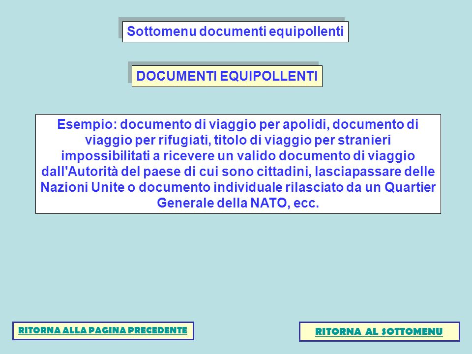 DOCUMENTI EQUIPOLLENTI Esempio: documento di viaggio per apolidi, documento di viaggio per rifugiati, titolo di viaggio per stranieri impossibilitati