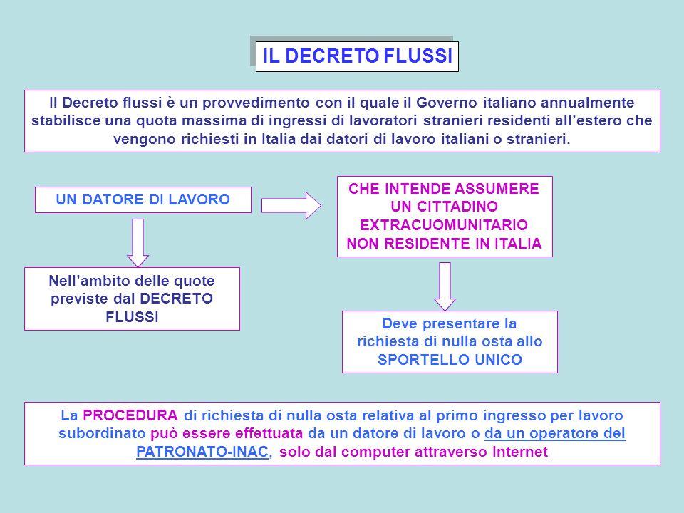 IL DECRETO FLUSSI Il Decreto flussi è un provvedimento con il quale il Governo italiano annualmente stabilisce una quota massima di ingressi di lavora