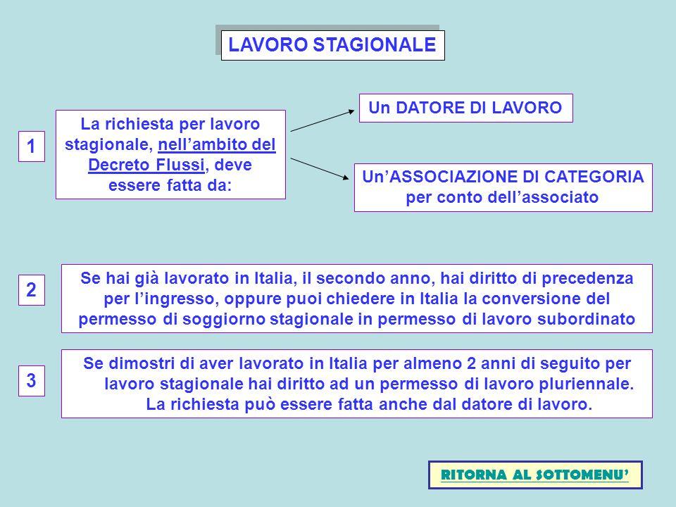 LAVORO STAGIONALE Se dimostri di aver lavorato in Italia per almeno 2 anni di seguito per lavoro stagionale hai diritto ad un permesso di lavoro pluri
