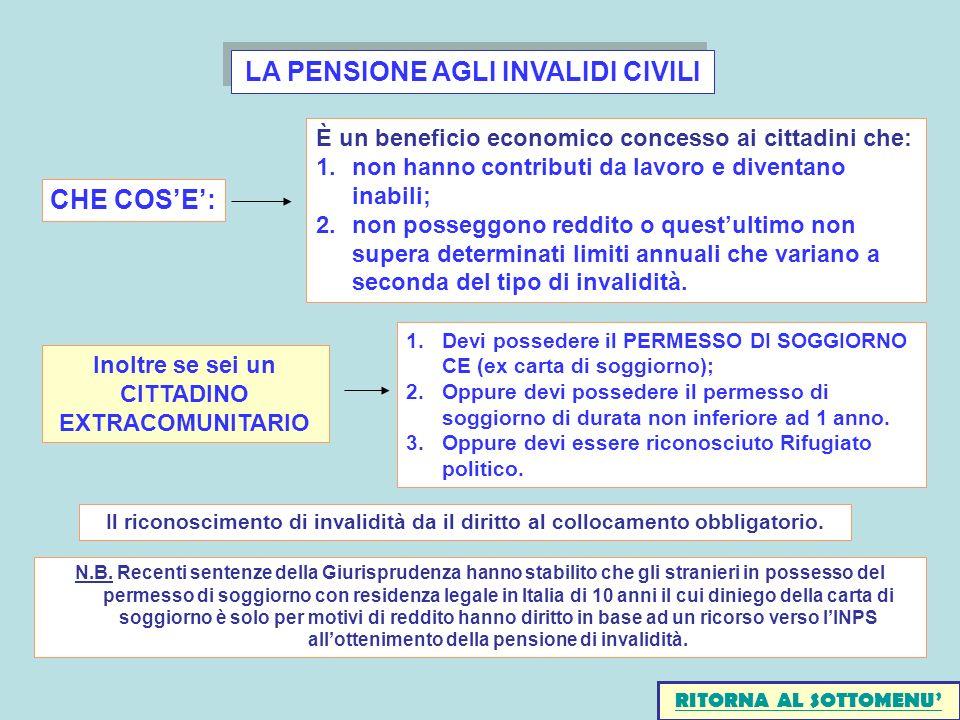 LA PENSIONE AGLI INVALIDI CIVILI Il riconoscimento di invalidità da il diritto al collocamento obbligatorio. Inoltre se sei un CITTADINO EXTRACOMUNITA