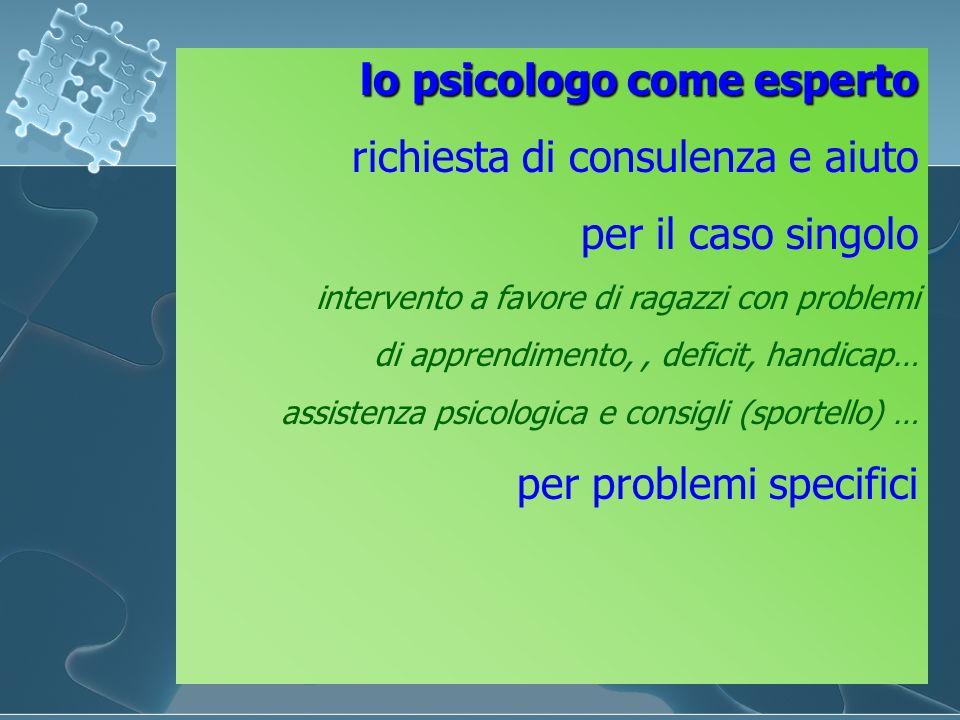 lo psicologo come esperto richiesta di consulenza e aiuto per il caso singolo intervento a favore di ragazzi con problemi di apprendimento,, deficit,