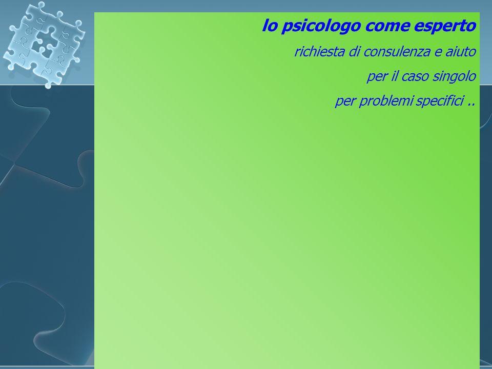 lo psicologo come esperto richiesta di consulenza e aiuto per il caso singolo per problemi specifici..