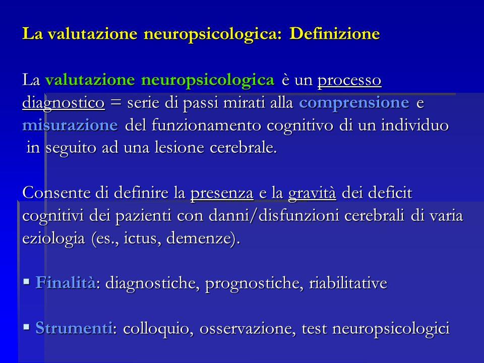 La valutazione neuropsicologica: Definizione La valutazione neuropsicologica è un processo diagnostico = serie di passi mirati alla comprensione e misurazione del funzionamento cognitivo di un individuo in seguito ad una lesione cerebrale.