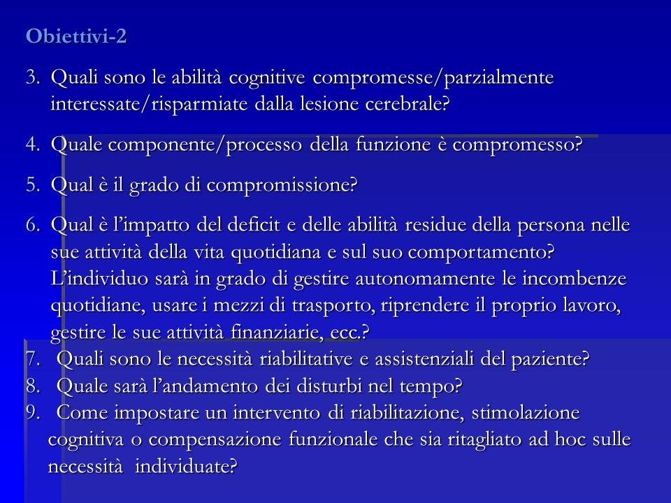 Obiettivi-2 3.Quali sono le abilità cognitive compromesse/parzialmente interessate/risparmiate dalla lesione cerebrale.