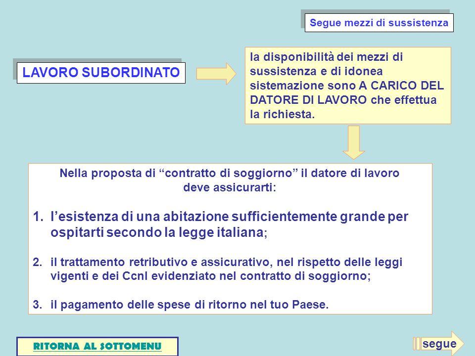 LAVORO SUBORDINATO Nella proposta di contratto di soggiorno il datore di lavoro deve assicurarti: 1.lesistenza di una abitazione sufficientemente gran