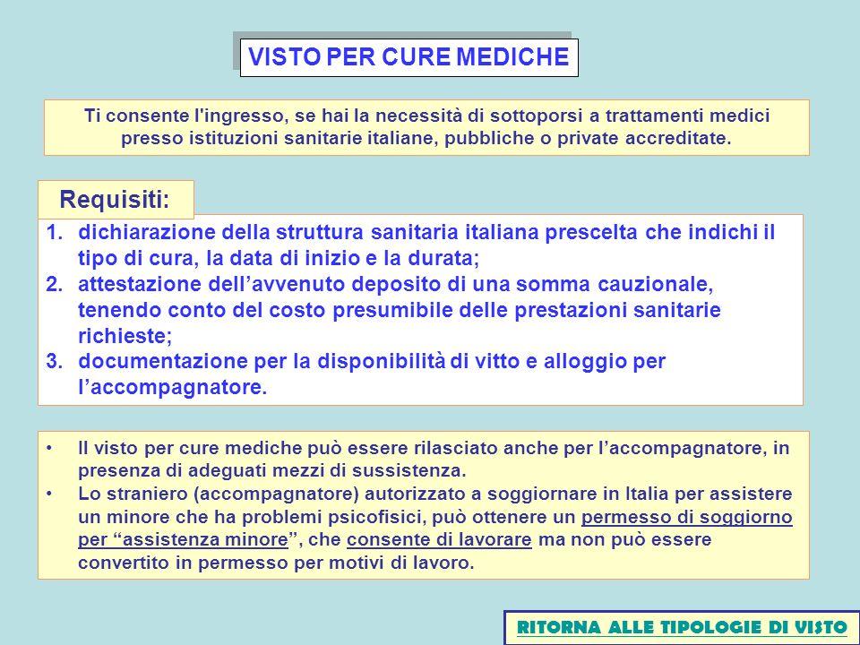 VISTO PER CURE MEDICHE 1.dichiarazione della struttura sanitaria italiana prescelta che indichi il tipo di cura, la data di inizio e la durata; 2.atte