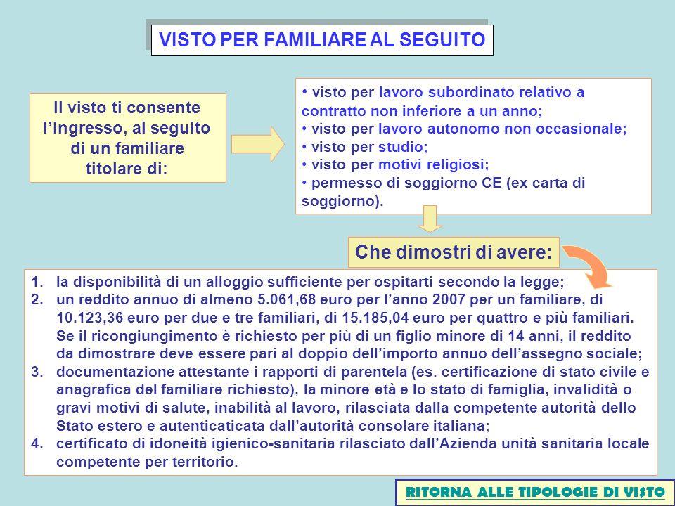 VISTO PER FAMILIARE AL SEGUITO 1.la disponibilità di un alloggio sufficiente per ospitarti secondo la legge; 2.un reddito annuo di almeno 5.061,68 eur