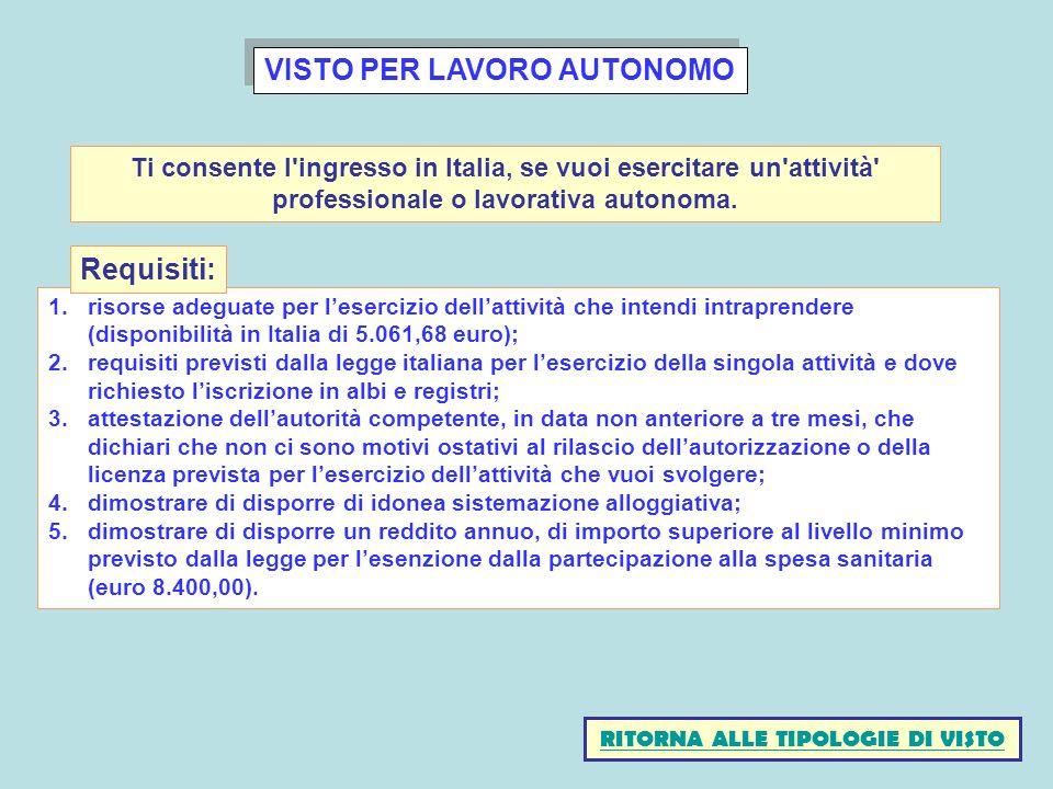 VISTO PER LAVORO AUTONOMO 1.risorse adeguate per lesercizio dellattività che intendi intraprendere (disponibilità in Italia di 5.061,68 euro); 2.requi
