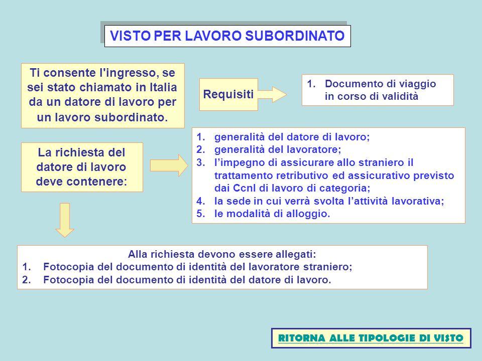 VISTO PER LAVORO SUBORDINATO 1.generalità del datore di lavoro; 2.generalità del lavoratore; 3.limpegno di assicurare allo straniero il trattamento re