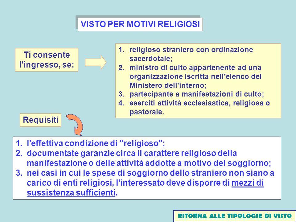 VISTO PER MOTIVI RELIGIOSI 1.l'effettiva condizione di