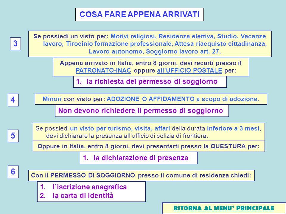 COSA FARE APPENA ARRIVATI 1.la richiesta del permesso di soggiorno Appena arrivato in Italia, entro 8 giorni, devi recarti presso il PATRONATO-INAC op