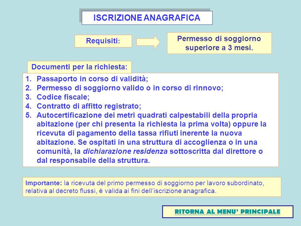 ISCRIZIONE ANAGRAFICA 1.Passaporto in corso di validità; 2.Permesso di soggiorno valido o in corso di rinnovo; 3.Codice fiscale; 4.Contratto di affitt