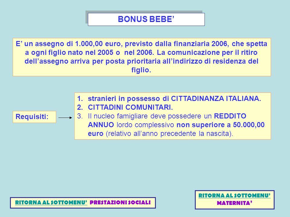 BONUS BEBE E un assegno di 1.000,00 euro, previsto dalla finanziaria 2006, che spetta a ogni figlio nato nel 2005 o nel 2006. La comunicazione per il