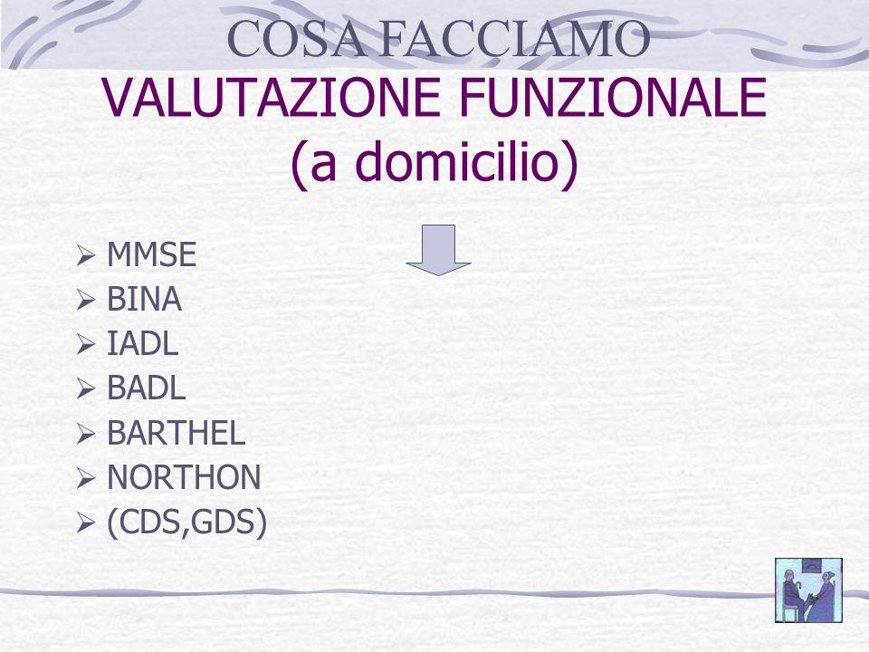 VALUTAZIONE FUNZIONALE (a domicilio) MMSE BINA IADL BADL BARTHEL NORTHON (CDS,GDS) COSA FACCIAMO