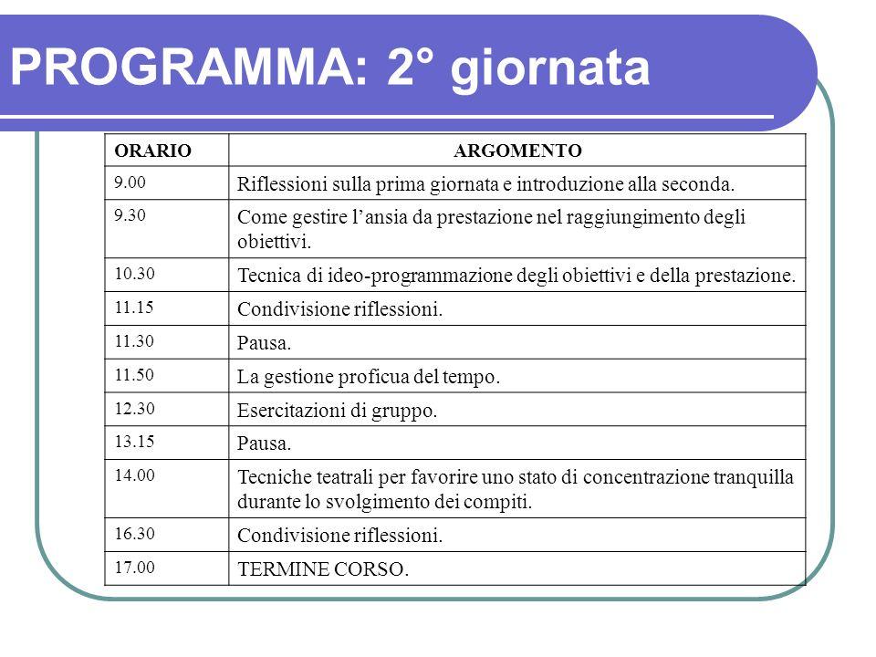 PROGRAMMA: 2° giornata ORARIOARGOMENTO 9.00 Riflessioni sulla prima giornata e introduzione alla seconda. 9.30 Come gestire lansia da prestazione nel