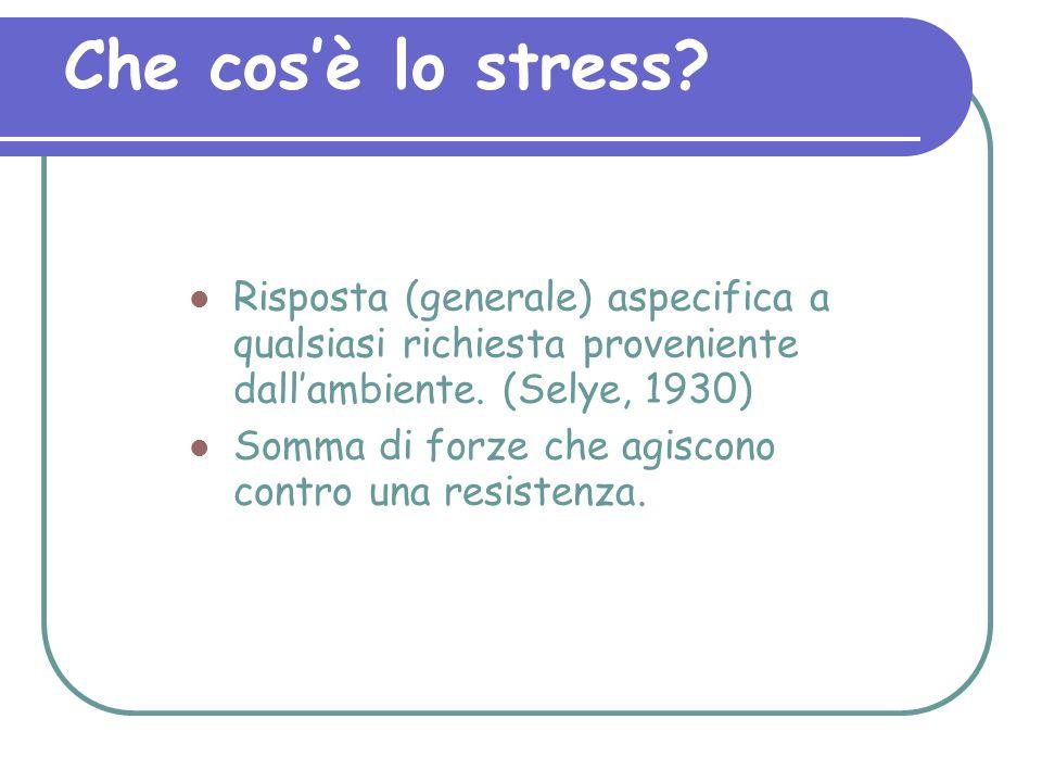 Che cosè lo stress? Risposta (generale) aspecifica a qualsiasi richiesta proveniente dallambiente. (Selye, 1930) Somma di forze che agiscono contro un