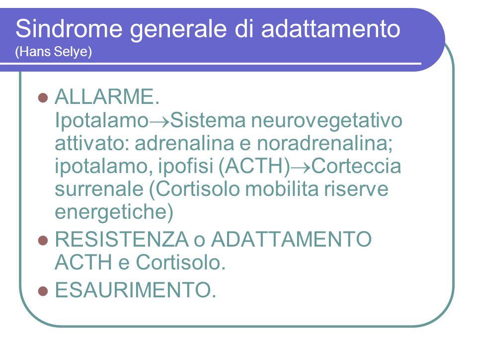Sindrome generale di adattamento (Hans Selye) ALLARME. Ipotalamo Sistema neurovegetativo attivato: adrenalina e noradrenalina; ipotalamo, ipofisi (ACT