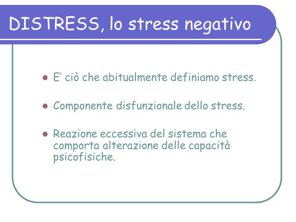 DISTRESS, lo stress negativo E ciò che abitualmente definiamo stress. Componente disfunzionale dello stress. Reazione eccessiva del sistema che compor