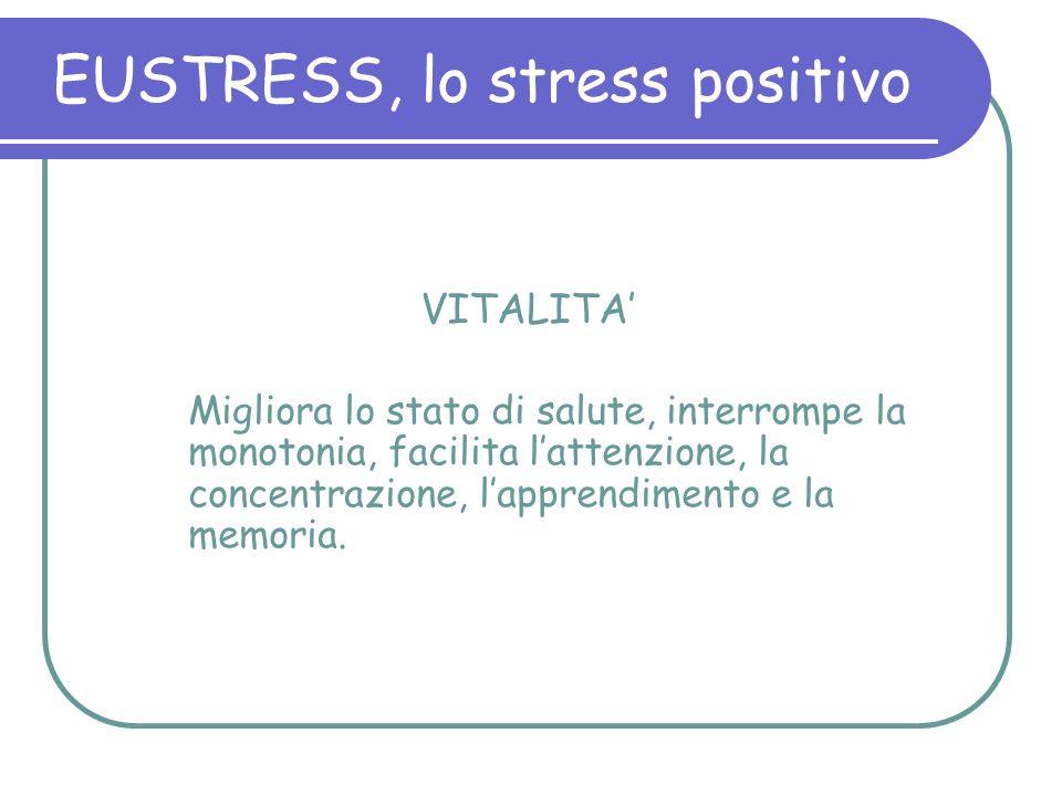 VITALITA Migliora lo stato di salute, interrompe la monotonia, facilita lattenzione, la concentrazione, lapprendimento e la memoria. EUSTRESS, lo stre