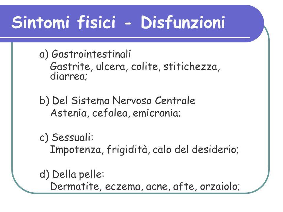 Sintomi fisici - Disfunzioni a) Gastrointestinali Gastrite, ulcera, colite, stitichezza, diarrea; b) Del Sistema Nervoso Centrale Astenia, cefalea, em