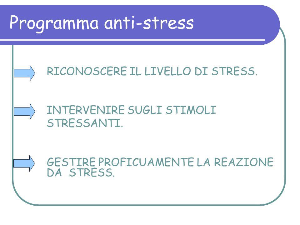 Programma anti-stress RICONOSCERE IL LIVELLO DI STRESS. INTERVENIRE SUGLI STIMOLI STRESSANTI. GESTIRE PROFICUAMENTE LA REAZIONE DA STRESS.