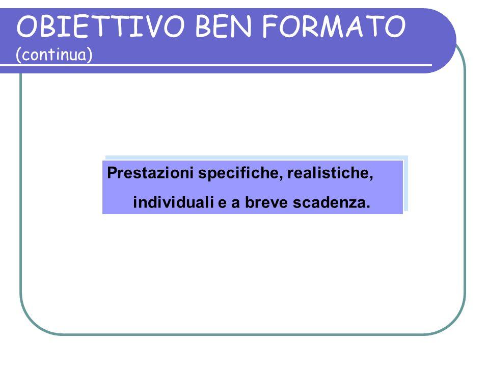 OBIETTIVO BEN FORMATO (continua) Prestazioni specifiche, realistiche, individuali e a breve scadenza. Prestazioni specifiche, realistiche, individuali