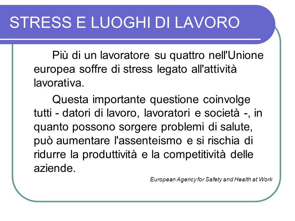 STRESS E LUOGHI DI LAVORO Più di un lavoratore su quattro nell'Unione europea soffre di stress legato all'attività lavorativa. Questa importante quest