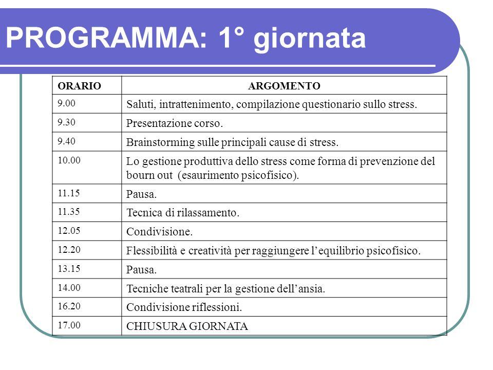 PROGRAMMA: 1° giornata ORARIOARGOMENTO 9.00 Saluti, intrattenimento, compilazione questionario sullo stress. 9.30 Presentazione corso. 9.40 Brainstorm