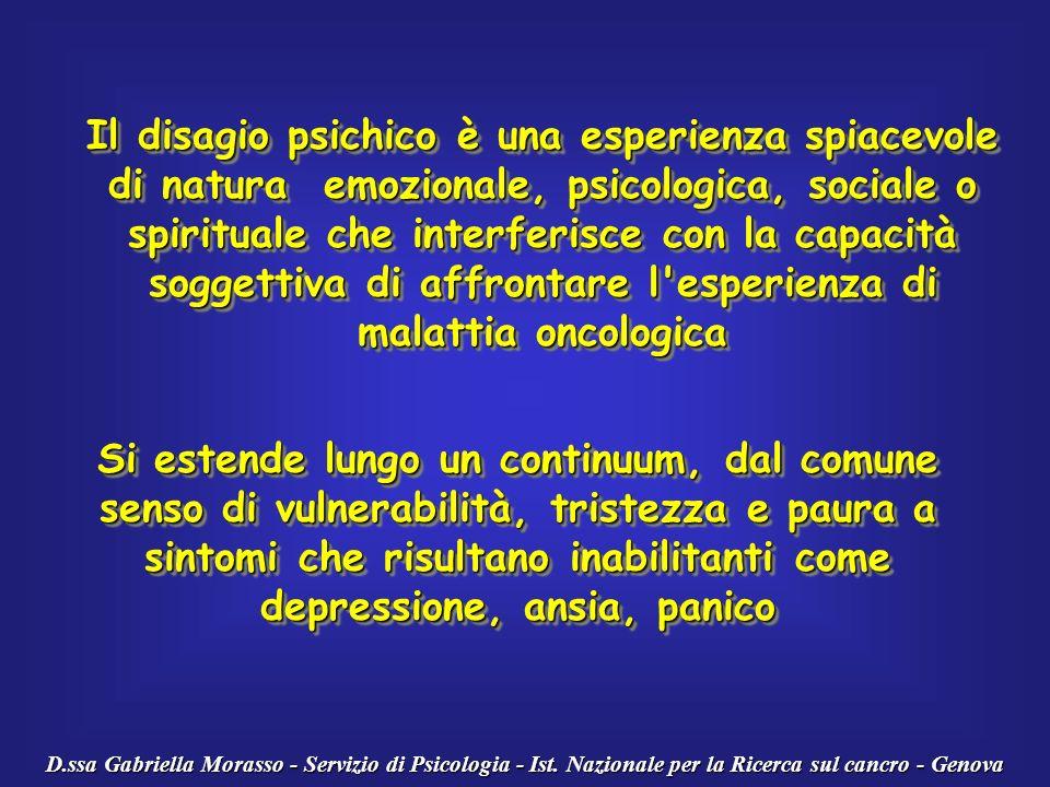 D.ssa Gabriella Morasso - Servizio di Psicologia - Ist. Nazionale per la Ricerca sul cancro - Genova Il disagio psichico è una esperienza spiacevole d