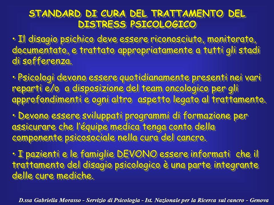 D.ssa Gabriella Morasso - Servizio di Psicologia - Ist. Nazionale per la Ricerca sul cancro - Genova STANDARD DI CURA DEL TRATTAMENTO DEL DISTRESS PSI