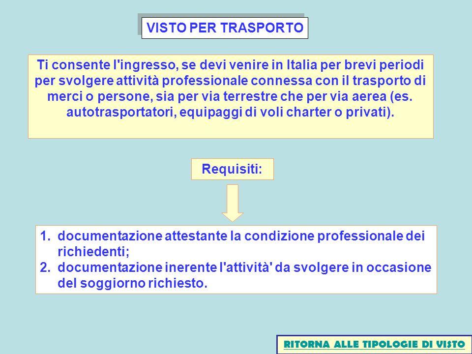 VISTO PER TRASPORTO 1.documentazione attestante la condizione professionale dei richiedenti; 2.documentazione inerente l attività da svolgere in occasione del soggiorno richiesto.