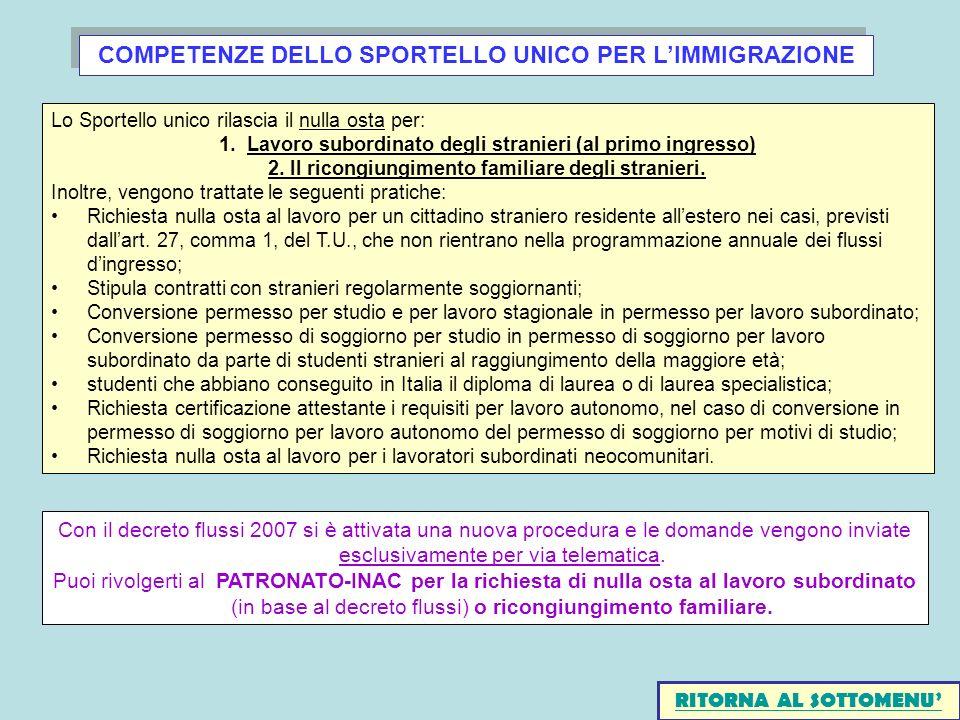 COMPETENZE DELLO SPORTELLO UNICO PER LIMMIGRAZIONE Lo Sportello unico rilascia il nulla osta per: 1.