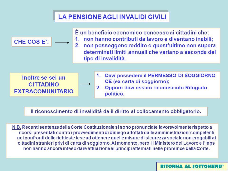 LA PENSIONE AGLI INVALIDI CIVILI Il riconoscimento di invalidità da il diritto al collocamento obbligatorio.