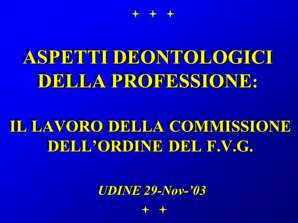 ASPETTI DEONTOLOGICI DELLA PROFESSIONE : IL LAVORO DELLA COMMISSIONE DELLORDINE DEL F.V.G.