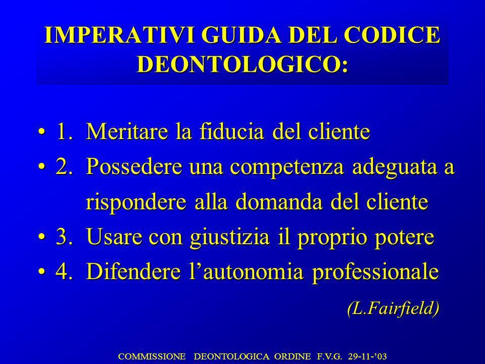 IMPERATIVI GUIDA DEL CODICE DEONTOLOGICO: 1. Meritare la fiducia del cliente1.