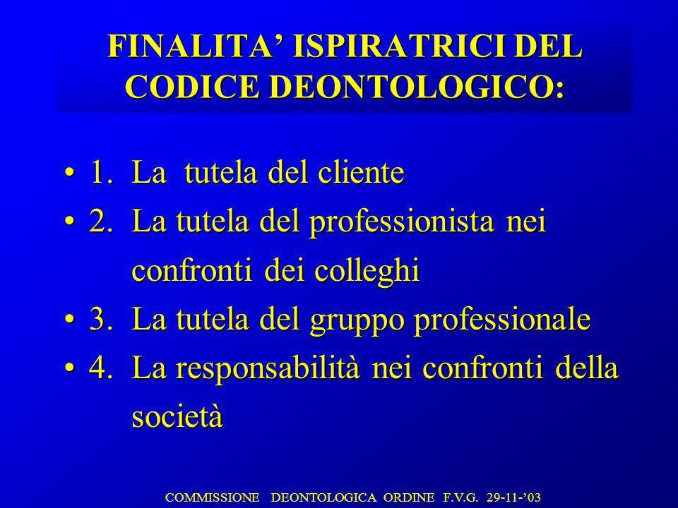 FINALITA ISPIRATRICI DEL CODICE DEONTOLOGICO: 1. La tutela del cliente1.