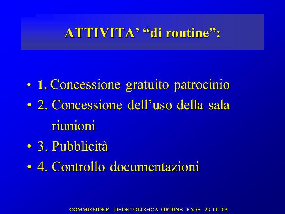 ATTIVITA di routine: 1. Concessione gratuito patrocinio1.