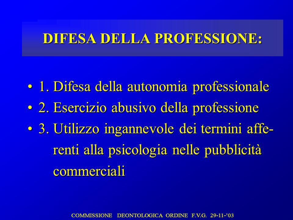 DIFESA DELLA PROFESSIONE: 1. Difesa della autonomia professionale1.