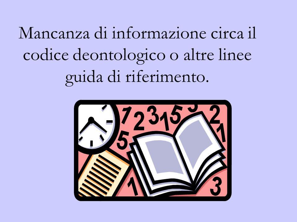 Mancanza di informazione circa il codice deontologico o altre linee guida di riferimento.