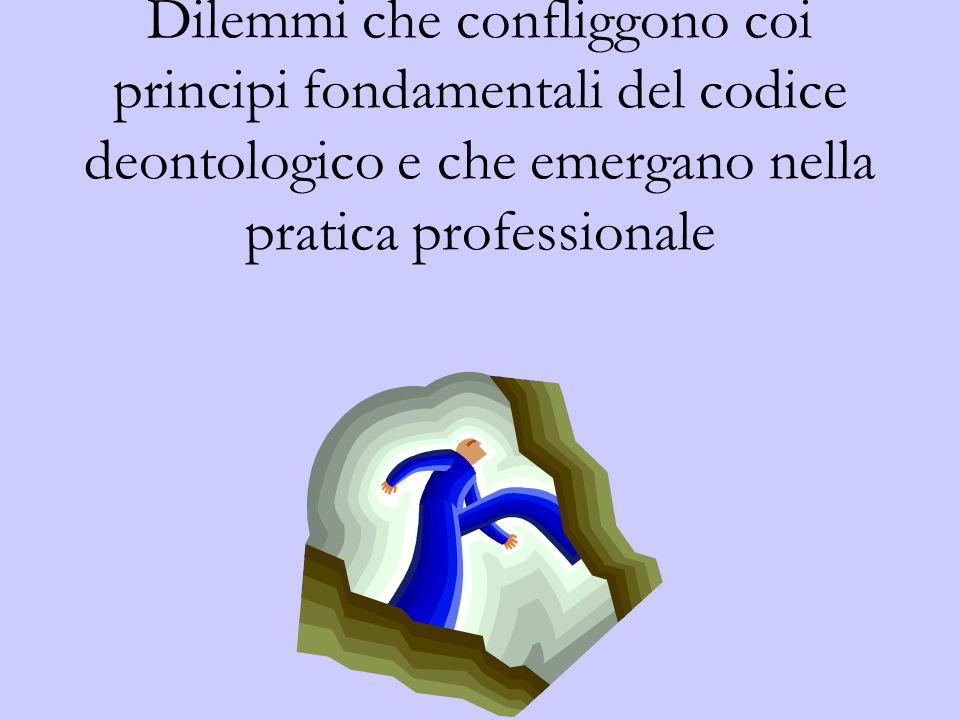 Dilemmi che confliggono coi principi fondamentali del codice deontologico e che emergano nella pratica professionale