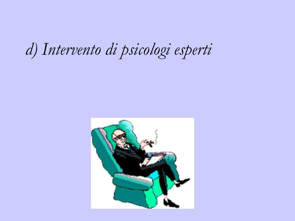d) Intervento di psicologi esperti